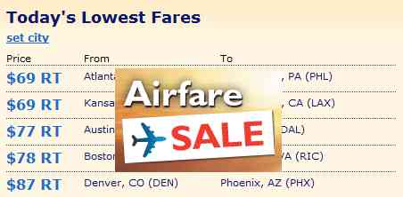 Cheap Airfare Sale