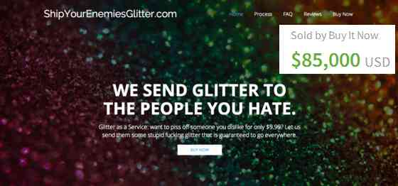 shipyourenemiesglitter.com sold for 85k