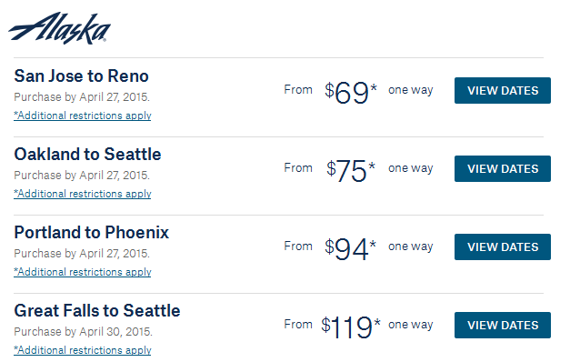 Alaska Airline Summer Savings Fares
