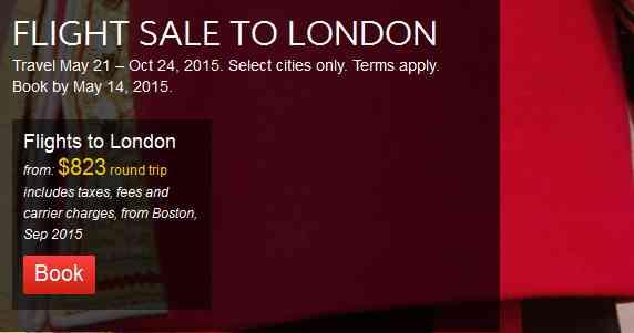 British Airways Flight Sale To London