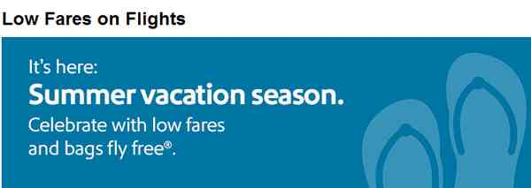 Southwest Airlines Summer Vacation Season Sale