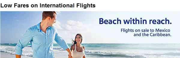 Soutwest Airlines Low Fares International Flights
