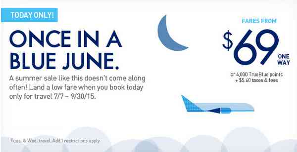 Jetblue Once In A Blue June Sale