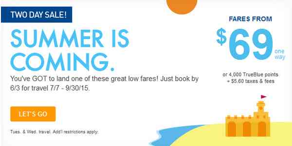 Jetblue Summer Airfare Sale