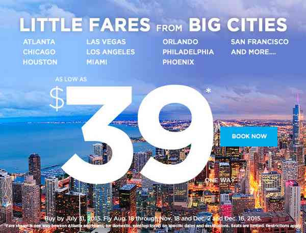 Frontier Airlines Little Fares From Big Cities