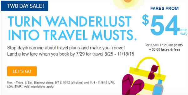 JetBlue 2 Day Sale From $54