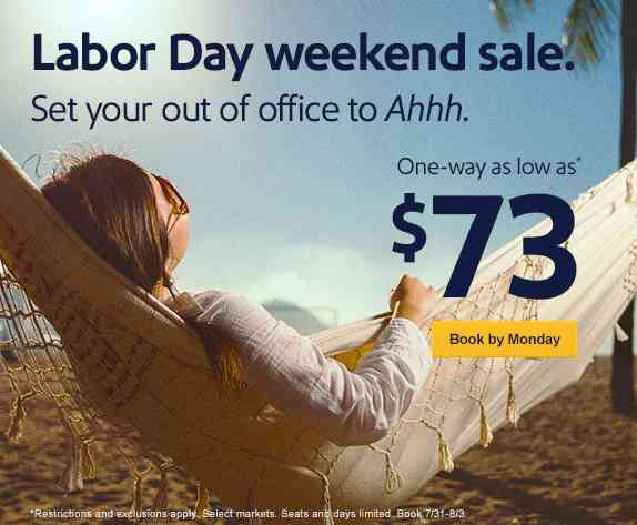 Southwest Labor Day Weekend Sale