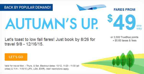 JetBlue Autumn Sale