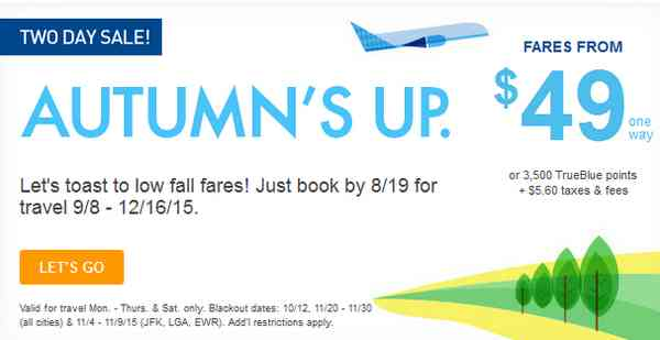 JetBlue Low Fall Fares Promo