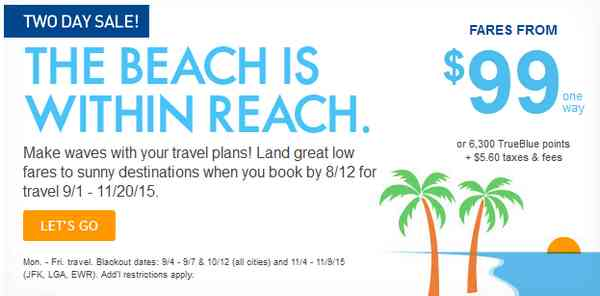 JetBlue The Beach Is Within Reach Sale