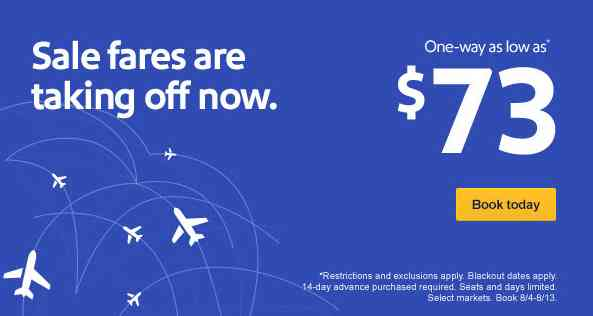 Southwest Airlines $56 Airfare Sale