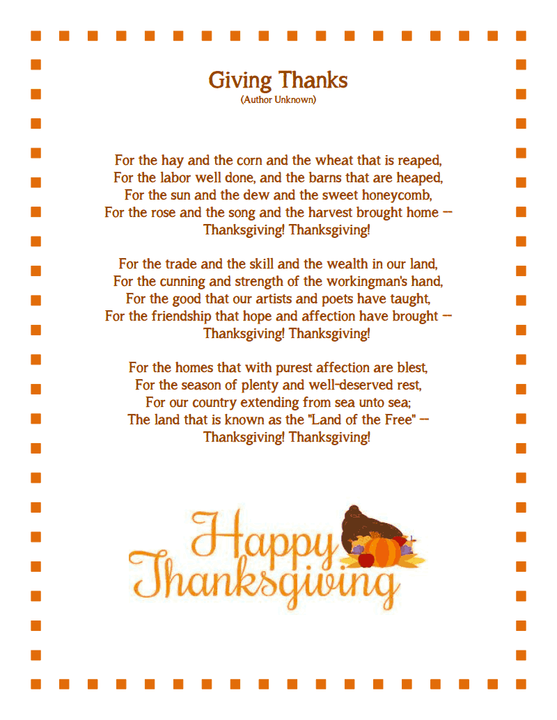Happy Thanksgiving Poems & Prayer 3