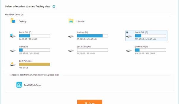 EaseUS Recover Data Free